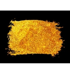 Golden glitter paint stain isolated on black vector image