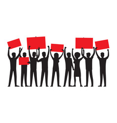 Group of people with red placards silhouettes vector