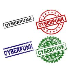 Grunge textured cyberpunk seal stamps vector