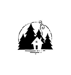 Hand drawn label with small hut and pine trees vector
