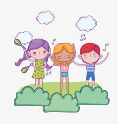 happy children day cute girls and boy singing vector image