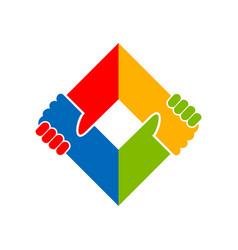 Holding hand unity social campaign symbol design vector