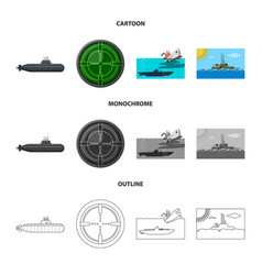 Isolated object of war and ship sign collection vector