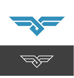 Knot style logo with wings double color ropes vector