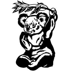 koala bear black white vector image
