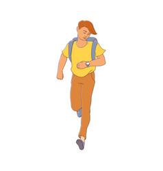 late young man girl hurrying up vector image