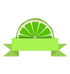 Lime slice with paper banner vector