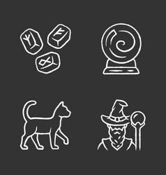 Magic chalk icons set runestones fortune telling vector