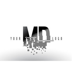 Md m d pixel letter logo with digital shattered vector