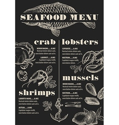 Menu seafood restaurant food template placemat vector image