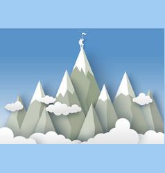 mountaineering in paper art vector image
