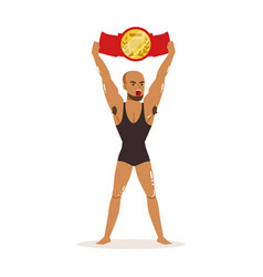 Muscularity wrestler in tricot holding vector