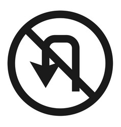 no u-turn prohibition sign line icon vector image