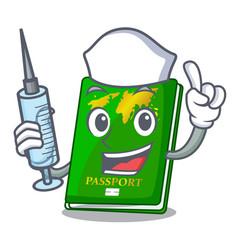 Nurse green passport in the cartoon shape vector