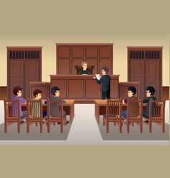 people in court scene vector image