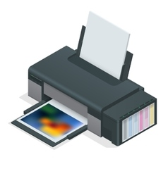 Photo inkjet printer Color printer prints photo vector