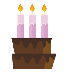 pink candles on a cake color vector image