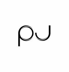 Pj logo monogram with slice rounded modern design vector