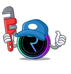 Plumber request network coin mascot cartoon vector