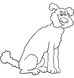 poodle dog cartoon for coloring book vector image