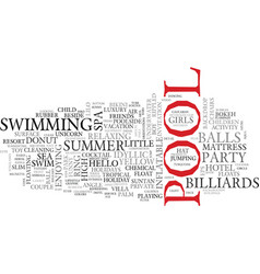 Pool word cloud concept vector