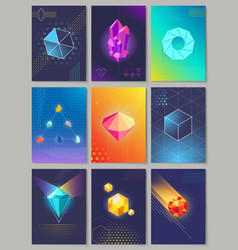 Precious stones colourful collection of nine vector