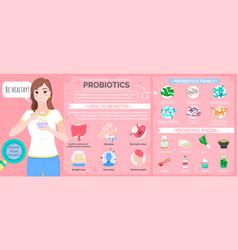 Probiotics woman eating special food diet poster vector