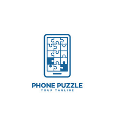 puzzle phone logo vector image