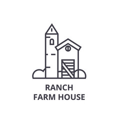 Ranch farm house line icon outline sign linear vector