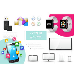 realistic digital devices composition vector image
