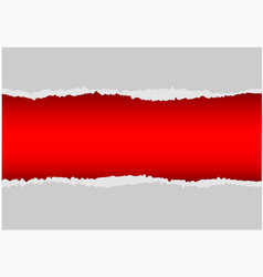 realistic gray paper torn on red background vector image