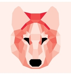 Red low poly wolf vector image