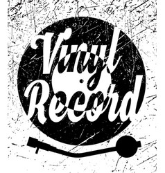 retro poster with vinyl record and gramophone vector image