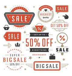 sale labels and tags design vintage set vector image