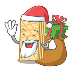 Santa with gift waffle mascot cartoon style vector