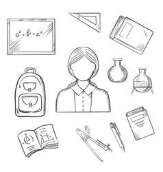 School teacher with education sketch icons vector image