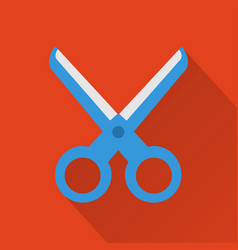 scissorsmodern design flat icon with long shadow vector image