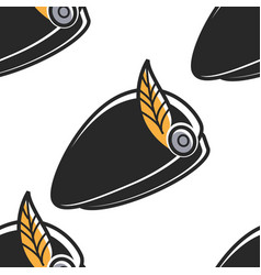 scottish hat with feather national costume element vector image