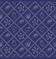 Seashell nautical pattern in navy blue and white vector
