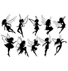 set fairies collection girls fairy vector image