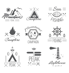Set icons on a hike in mystical retro style vector