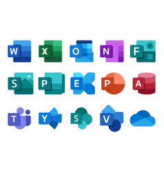 Set microsoft office icons 2021 vector