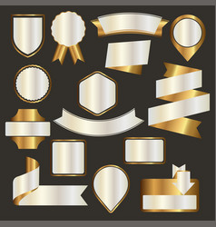set of nacre emblems badges and ribbons vector image