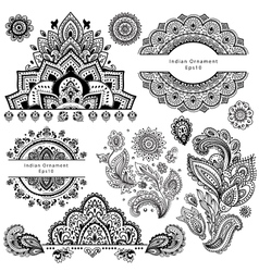 Set of ornamental Indian symbols vector