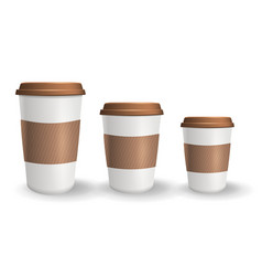 set of realistic takeaway and to go paper coffee vector image