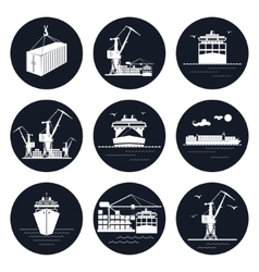 Set of Round Cargo Icons vector