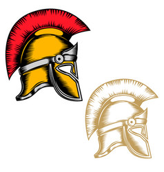 set spartan helmets isolated on white vector image