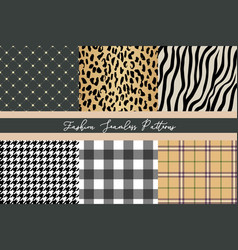 set trendy fashion seamless patterns collection vector image