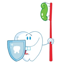 Smiling Tooth With Toothbrush And Shield vector image