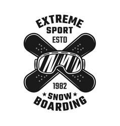 Snowboarding emblem with ski glasses and boards vector